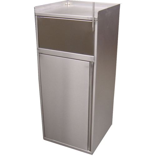 poubelle inox de 100 litres pour snack porte pivotante et poign e. Black Bedroom Furniture Sets. Home Design Ideas
